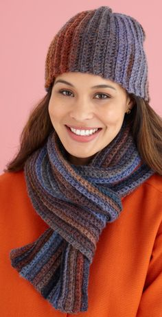 Free Beginner Pattern for Softly Shaded Hat & Scarf
