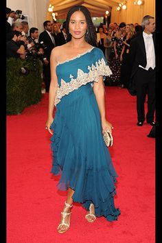 Joy Bryant, in Marchesa, with Harry Winston jewels.