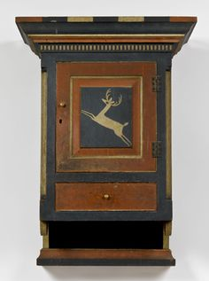 Johannes Spitler  The Jacob Strickler family hanging wall cupboard   Shenandoah County, Virginia, circa 1800-1801  Jane Katcher Collection of Americana