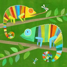Striped chameleons Giclee Art Print Lizard Illustration for Boy Zi . - Striped chameleons Giclee Art Print Lizard Illustration for Boy& Room or Nursery Baby Boy Gif - Cameleon Art, Canvas Art Prints, Canvas Wall Art, Colorful Lizards, Arte Elemental, Art For Kids, Crafts For Kids, Diy Crafts, Summer Crafts