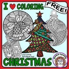 Christmas and Hanukkah I Heart Coloring! Free!