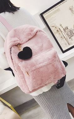 27f8517c13 Women s Pink Solid Faux Fur Backpack