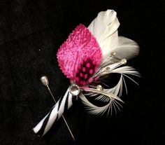 ZEBRA Print Feather Boutonniere (Buttonhole) Hot Pink Fuchsia Black and White - Crystal Bling Groom Mens Boutonnieres Custom Wedding Colors.
