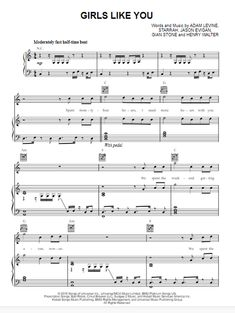 piano music Maroon 5 Girls Like You, featuring Cardi B. originally in the key of C Major. This composition was written by Adam Levine, Starrah, Jason Evgan and Henry Walter. It can be tran Clarinet Sheet Music, Easy Piano Sheet Music, Sheet Music Notes, Violin Music, Music Sheets, Music Music, Saxophone, Cello, Piano Songs