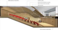Auditório Corporativo - Berrini - São Paulo Auditorium Architecture, Theater Architecture, Auditorium Design, Architecture Details, Auditorium Plan, Hall Design, Theatre Design, Museum Plan, Interior Design Presentation