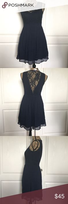 "Vero Moda Navy Blue Lace Empire Waist Dress NWT, Vero Moda Navy Blue Lace Empire Waist Dress, Size Small, Smoke free home.   Chest: : 32"" Waist: 28"" Overall Length: 32"" ASOS Dresses Mini"
