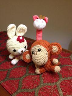 3 animali amigurumi handmade animal puppet crochet di NuuForYou