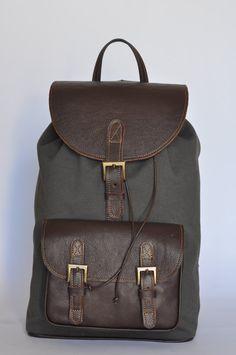 Genuine Leather and Gray Canvas Backpack van DoubleEdge op Etsy