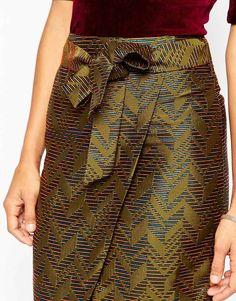 Wrap Pencil Skirt in Chevron Jacquard