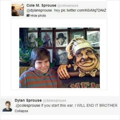 """ Ladies and gentleman, 23 year old twins and child stars Dylan and Cole Sprouse. "" Cole and Dylan.I love dylan Sprouse Bros, Dylan Sprouse, Cole Sprouse Funny, Sprouse Cole, Funny Tweets, Funny Quotes, Funny Memes, Hilarious, Really Funny"