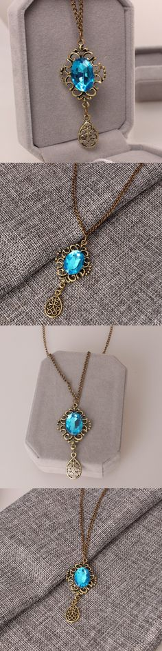 New fashion retro hollow blue gem water droplets pendant long necklace free shipping
