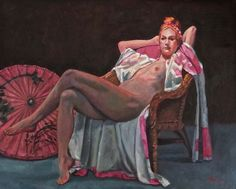 La Rosa Parasol - oil on canvas by Lyndel Thomas, presently exhibited at the Rossocinabro Gallery, Rome