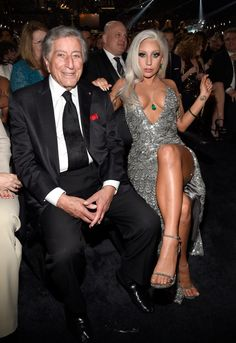 Tony Bennett and Lady Gaga at the 57th Annual GRAMMY Awards in Los Angeles