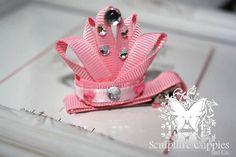 Princess crown ribbon barrette