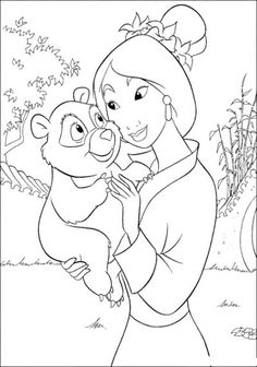 Mulan With Her Pet Coloring Page
