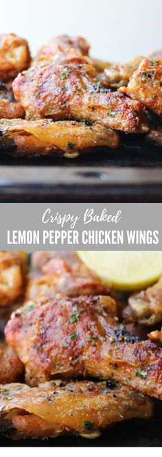 Crispy Baked Lemon Pepper Chicken Wings | All the Healthy Things | These easy lemon pepper chicken wings are so flavorful and delicious. Serve these at your next party!