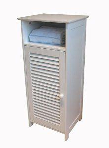 Amazon.com: Homecharm-Intl HC-010 Standing Bathroom Cabinet Louvered,White: Kitchen & Dining