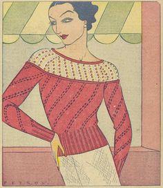The Vintage Pattern Files: Knitting - An Aristocrat in White and Scarlet Kids Tops, Moda Vintage, Knitting Patterns, Sewing Patterns, Knitting Ideas, Knitting Projects, Crochet Projects, Crochet Patterns, Vestidos Vintage