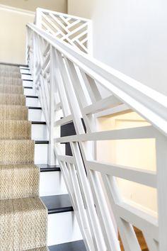 Hallie Henley Design + Chippendale Banister + Sisal Stair Runner