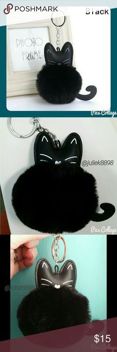 Black Cat Pom-Pom Keychain Cute alert! Fluffy, faux fur, pom-pom keychain with kitty head and tail. Silver hardware. Adorbs! Brand new in its original packaging. Jewely's Justifiables Accessories