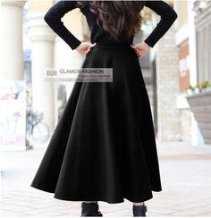 New Elegant Wool Skirt Long Skirt Winter Skirt US2 18 GF0695 | eBay