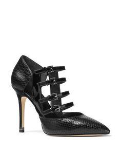 Michael Michael Kors Marta Snake Embossed Pumps Women's Black 7.5