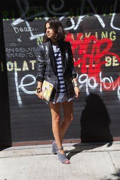 Dries Van Noten blazer, Sacai dress, Alexander Wang shoes, Lizzie Fortunato bag
