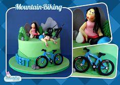 Mountain bike cake, mountains, hills, mountain bike, husband and wife