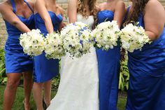white football mum with blue delphium bouquet - Google Search