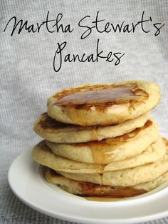 I subbed applesauce for the oil and 1/2 whole wheat (pastry) ....  Martha Stewart's Pancakes - The First Year Blog #EasyPancakes