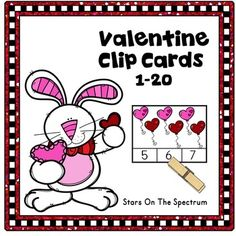 Valentines Day Math Clip Cards for counting and matching sets of 1-20 objects with a fun  theme.  Use for centers, partner work or individual practice.