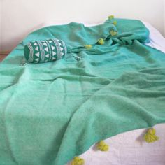 Moroccan POM POM Wool Blanket - Turquoise