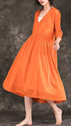55771b2004 Elegant orange cotton linen Robes Vintage Inspiration v neck embroidery  Robe Summer Dresses