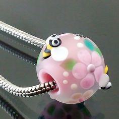 PIKALDA=handmade lampwork glass charm bead big hole bee=PARADISE ON EARTH=SRA