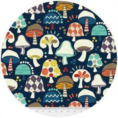 Hoodie, Free Mind, Argyle Mushrooms Navy