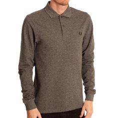 Fred Perry Mens Grey Long Sleeved Polo