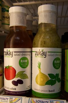 It's never been so easy to add raw, fermented vegetables to your diet: Zukay Olive Tomato Salad Dressing and Zukay Sweet Onion Basil Salad Dressing #raw #vegan #glutenfree