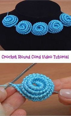 Hi crochet lovers around the world! It is always amusing and funny to learn how to make different crochet cords. With this crochet cord video tutorial you are going to learn how to make crochet round cord. The video tutorial is well-detailed and we h Crochet Cord, Crochet Motifs, Crochet Flower Patterns, Freeform Crochet, Crochet Stitches Patterns, Irish Crochet, Crochet Designs, Crochet Flowers, Knitting Patterns