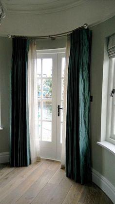 How to hang double layer curtains. Use a double curtain track or pole like this curved metal pole from Bradley Collection. Curtains by Dressing Rooms of West Sussex. Lounge Curtains, Voile Curtains, Striped Curtains, Hanging Curtains, Curtains Living, Layered Curtains, Double Rod Curtains, Grown Up Bedroom, Master Bedroom