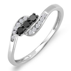 0.25 Carat (ctw) Sterling Silver Black & White Diamond 3 Stone Engagement Bridal Ring 1/4 CT (Size 9). Other ring sizes may be shipped sooner. Most rings can be resized. Satisfaction Guaranteed. Return or exchange any order within 30 days. Items is smaller than what appears in photo. Photo enlarged to show detail. All our diamonds are conflict free. Gemstone : Diamond.