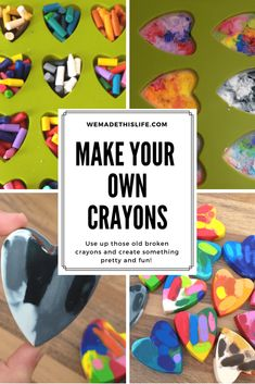 Make your own crayons tutorial. Make heart shaped crayons out of old broken crayons. Make your own crayon party bag favours Projects For Kids, Diy For Kids, Crafts For Kids, Diy Projects, Mason Jar Crafts, Mason Jar Diy, Broken Crayons, Diy Crayons, Crayon Crafts