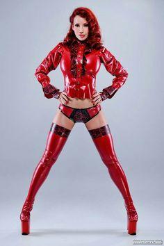 Bianca beauchamp red latex dress