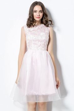 Pale Pink Bateau Lace Short Dress Vintage Style