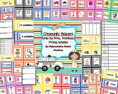 """Community Helper Themed: """"Write the Room"""", Noun and Syllable Sorts, and Printables.  This product includes 64 community helper themed word cards, labels for sorting, and printables to """"Write the Room"""" and sort words into categories. K, 1, special education"""