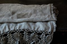 Linen throws with crochet edging