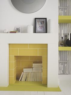 Living Room Yellow Tile - Bye Bye Backsplash 7 Alternative Ways to Use Wall Tile Paper & Stitch 1930s Fireplace, Unused Fireplace, Fireplace Tiles, Modern Fireplace, Fireplace Bookcase, Fireplace Redo, Traditional Fireplace, Rustic Fireplaces, Fireplace Mantels