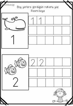 Numbers Preschool, Preschool Printables, Preschool Worksheets, Preschool Activities, Kindergarten Centers, Teaching Kindergarten, Math Centers, Simple Math, First Grade Math