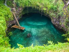 A trip to the beach is so boring compared to tracking down these breathtaking Mother-Nature made pools. From an electric-blue waterfall in Costa Rica to a 100-foot-deep grotto pool on a volcanic island in Samoa, here are 20 of the most unique, secluded, and hard-to-reach swimming spots in the world.