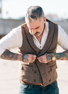 Double Breasted Larchmont Tweed Waistcoat 2