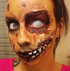 Zombie Halloween Makeup- Halloween makeup tutorials www.Youtube.com/empressmakeup